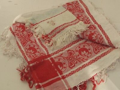 """Antique Turkey Red and White Tablecloth 53"""" X 54"""" with Monogramed Napkin"""