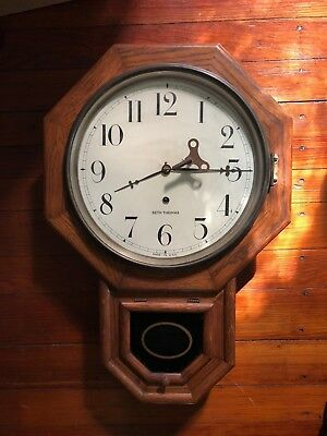 Antique Seth Thomas Wall Clock, 8 Day Oak Victorian