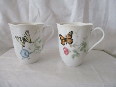 Lenox Butterfly Meadow Monarch Swallowtail lot of 2 white large mugs cups