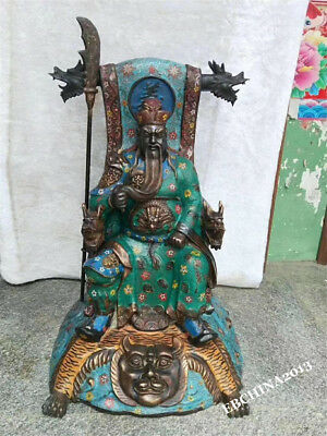 """28"""" Collect Old China Antique Bronze Cloisonne War God Guangong Guanyu Statue"""