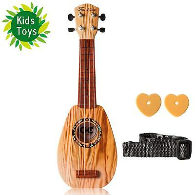 Soprano Ukulele 17-inch Acoustic Toy Guitar for Kids With the Picks, Strap and