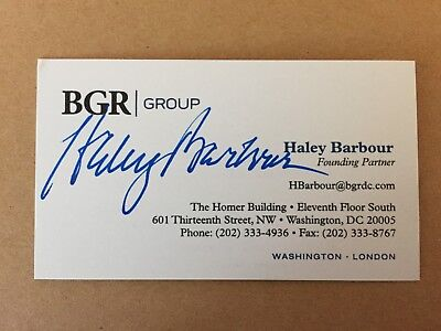 HALEY BARBOUR autograph GOVERNOR MISSISSIPPI Republican business card