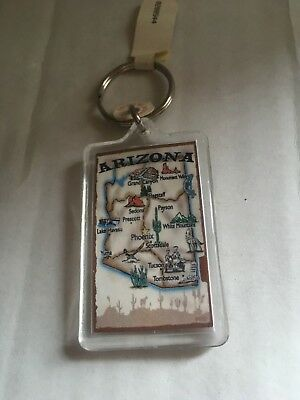 Arizona Two Sided Plastic Key Chain with Shape of State and landmarks On It NEW