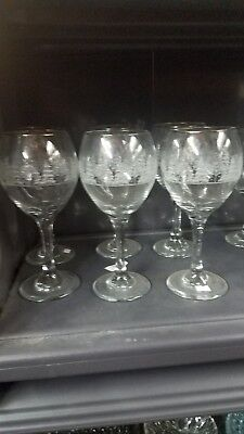 "LIBBEY Wine Glass  Christmas Frosted Etched Winter Gold Trim 8""  6 Set"