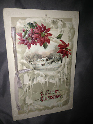 1900s vintage antique MERRY CHRISTMAS POSTCARD WITH RIBBON & PAGES RARE GERMANY