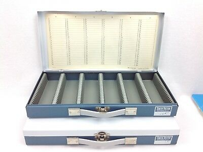 Set of 2 Smith Victor 35 MM Metal Numbered Slide Storage Case with Index Paper