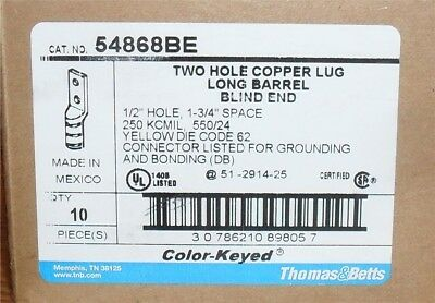 "T&b Thomas Betts 5468Be Copper Long Barrel Yellow , 1/2"" Hole, 1 3/4"" Space (10)"