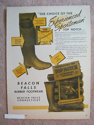 Vintage 1947 Beacon Falls Top Notch Streamwood Rubber Fishing Boots Pac Print Ad