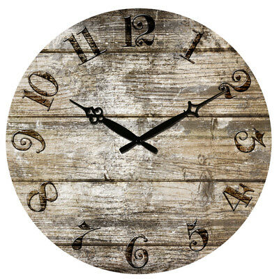 """38cm 15"""" Large Round Wooden Wall Clock Silence Antique Design Home Rooms Decor"""