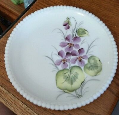 Vintage Westmoreland White Milk Glass Small Plate-Hand Painted Violets-Bead Edge