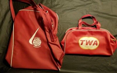 Lot of 2 Vintage bags TWA RED Carry on Red Travel Bag luggage & World Airways