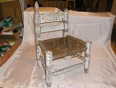 Vintage Small Rustic Ladder Back Chair - Woven Seat - Horrible Condition - VINTAGE SMALL RUSTIC Ladder Back Chair - Woven Seat - Horrible