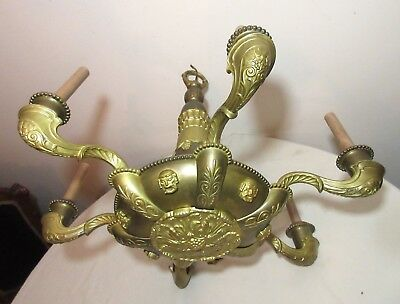antique Victorian figural ornate gilt brass electric chandelier ceiling fixture
