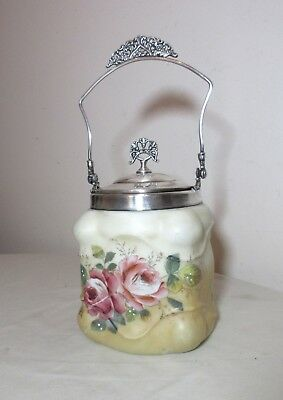 antique orante painted floral milk glass silverplate biscuit cookie jar bucket
