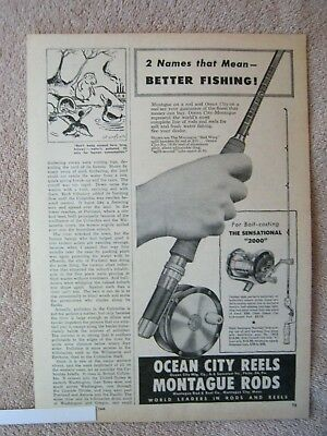 Vintage 1949 Montague Red Wing Bamboo Fly Rods Ocean City 76 Reels Print Ad