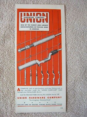 Vintage 1949 Union Hardware Split Bamboo Steel Fishing Rods Print Ad