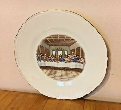 Vintage The Last Supper Jesus Christ White Gold-Trim Plate Religious Wall Decor