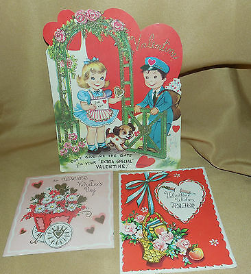 Lot of 3 Vintage VALENTINE'S DAY Used CARDS Scrapbooking 50's 60's