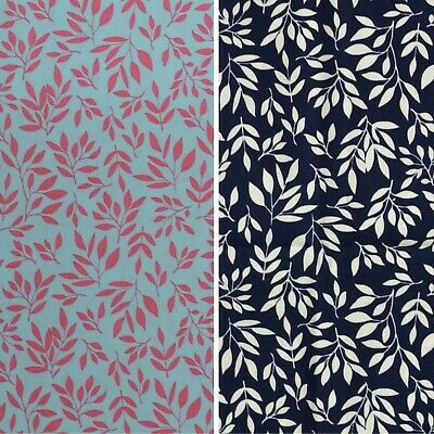 """100% 45"""" Craft Cotton Poplin Print Fabric Floral/Leaf Also For Face Mask Use"""