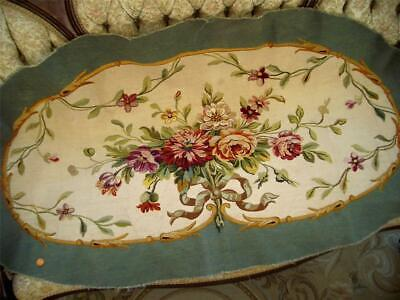3 0f 3 SUPERB LG HANDMADE Antique Vtg AUBUSSON TAPESTRY SETTEE BENCH COUCH COVER