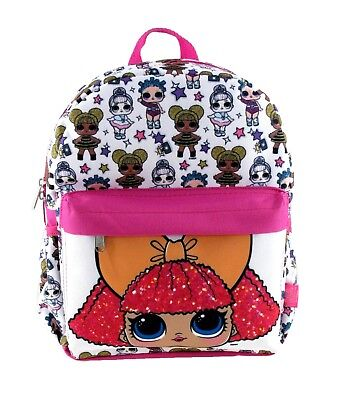"""LOL Surprise! Small 12"""" White All-Over Print Girls' School Backpack-TODDLER"""
