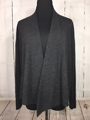 a86fdc539616 Eileen Fisher Cardigan Sweater Open Front Sequins 100% Merino Wool XL