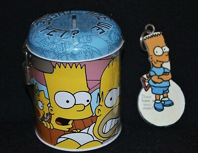 The Simpsons Money Box Tin & Key Ring Bart 2002