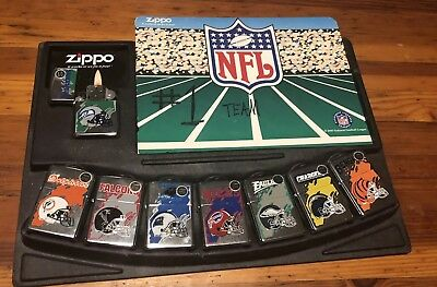 Rare Zippo NFL Lighter Set of 8 Limited Production With Display Card (2003) VG