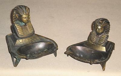 Art Deco Brass 2 ASHTRAY Egyptian Revival Sphinx Decorated Theme 213G