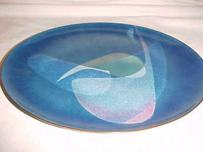 Signed Gertrude Brodsky Modern Enamel Copper Art Plate Midcentury Abstract 1950S