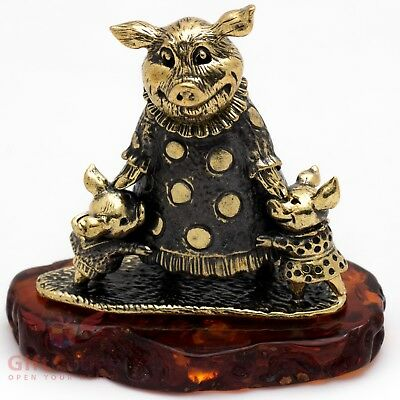 Solid Brass Amber Figurine of Pig mom with piglets 2019 New Year IronWork