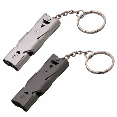 Stainless Steel Double Pipe High Decibel Emergency Survival Whistle Keychain