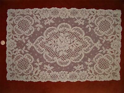 "1 ""PINK"" Antique VTG FRENCH ALENCON LACE RUNNER DRESSER SCARF CENTERPIECE DOILY"