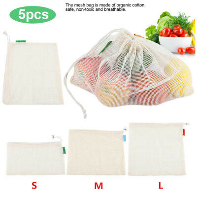 5X Reusable Cotton Mesh Produce Bags Grocery Fruit Storage Shopping String Bag