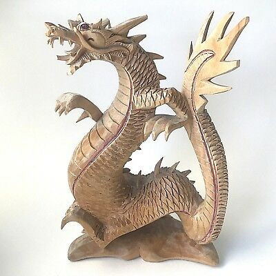 """Dragon Statue Hand Carved Wood Sculpture From Bali, Indonesia - 8"""" Tall"""