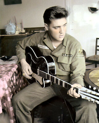 """ELVIS PRESLEY KING OF ROCK & ROLL in ARMY UNIFORM 8x10"""" HAND COLOR TINTED PHOTO"""