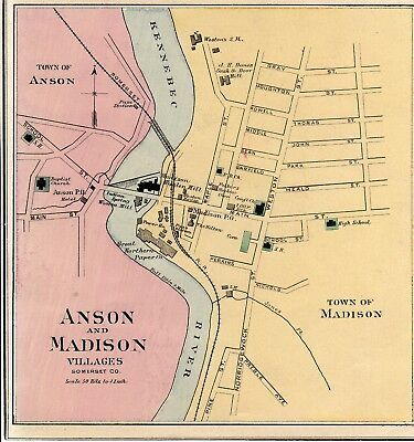 1888 Anson And Madison Maine Map W Place Names From Colby Atlas