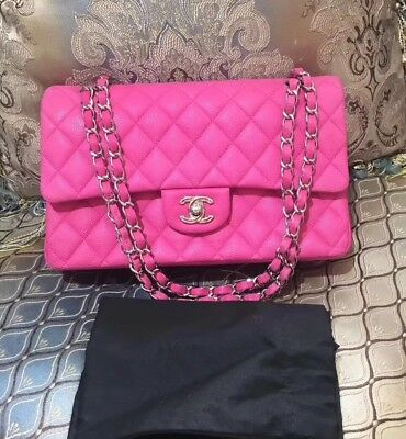e8196fb8cc37 NEW-CHANEL Hot Pink Quilted Caviar Leather Classic Medium Double Flap Bag  SHW