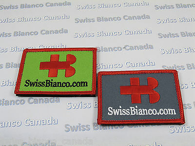 A Pair (2) of Swiss Bianco Patches (Red/Ap. Green and Red/Davy's Gray) Hook/Loop