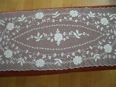 REFINED HM Antique Vtg PORTHAULT EMBROIDERY TYPE TAMBOUR NET LACE RUNNER SCARF
