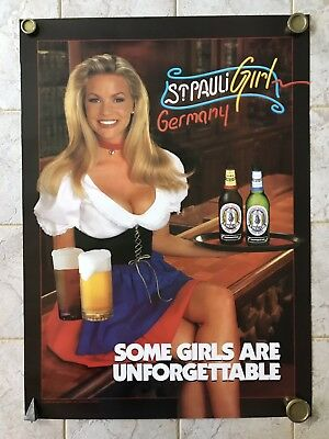 """""""Some Girl's are Unforgettable"""" St. Pauli Girl Germany Poster- New- Man Cave Bar"""