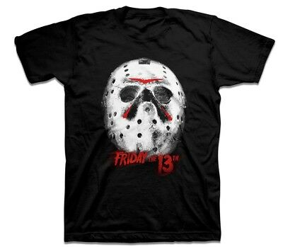 Friday The 13th Jason Mask Mens Black T-Shirt Halloween Horror Film Movies Movie
