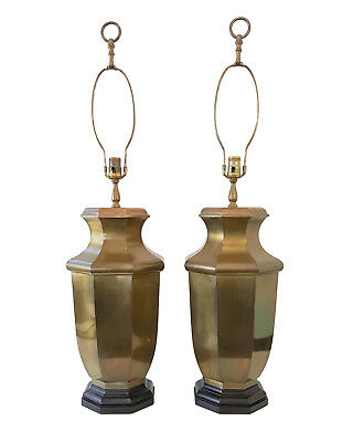 XL Vintage Pair Frederick Cooper Brass Lamps Hollywood Regency Mid-Century Asian