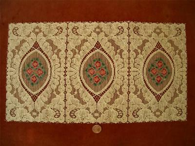 Antique Vtg PETIT POINT STYLE EMBROIDERY ALENCON LACE DOILY RUNNER DRESSER SCARF