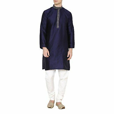 Zyva Men's Kurta Pyjama Set Yellow Dupion Ethnic Bollywood Shirt