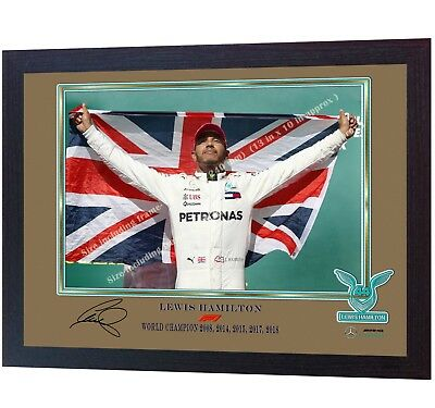 NEW 2018 F1 WORLD CHAMPION photo print Lewis Hamilton signed autographed FRAMED