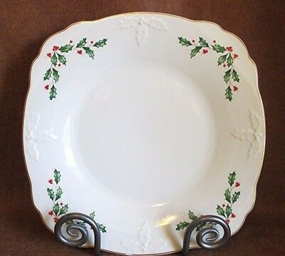 """Lenox HOLIDAY Dimension Pattern CARVED LOW BOWL Christmas Serving Dish 10 3/4"""""""