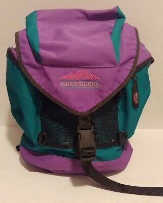 Vintage 90s High Sierra Backpack Purple Green Colorblock Pockets Travel Bag