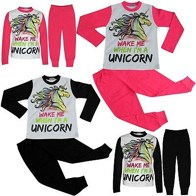 Kids Girls Wake Me When I'M A Unicorn Pyjamas Lounge Wear Nightwear PJS 5-13 Yr