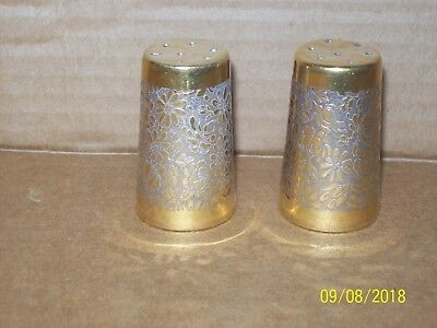 """Gold tone salt & pepper shakers with embossed floral design 2"""" tall, Porcelain?"""